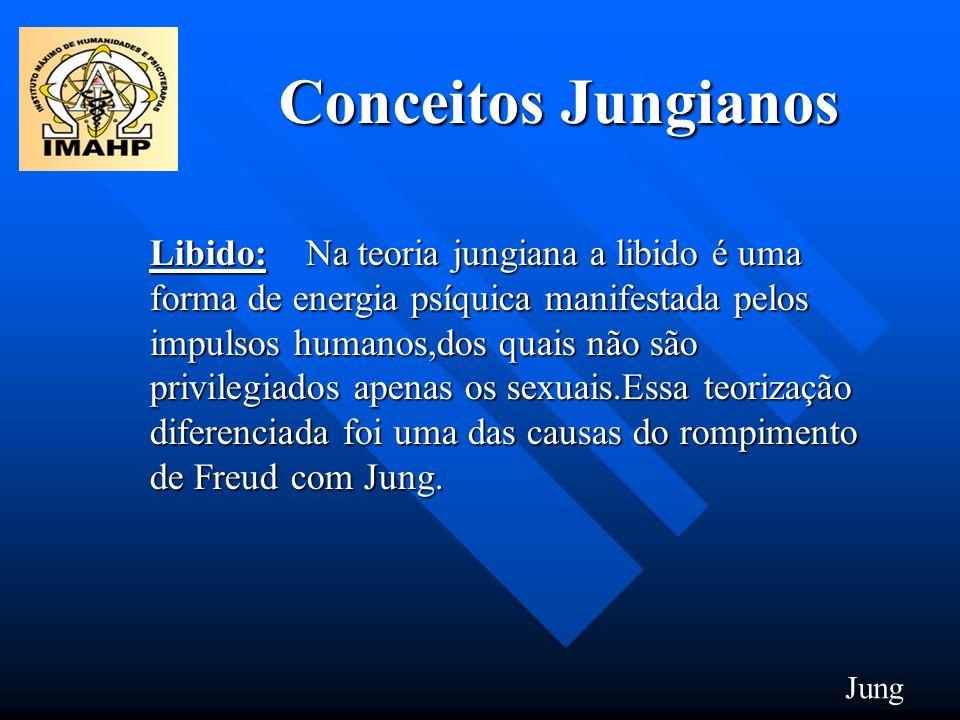 Conceitos Jungianos Libido: Na teoria jungiana a libido é uma forma de energia psíquica manifestada pelos impulsos humanos,dos quais não são privilegi