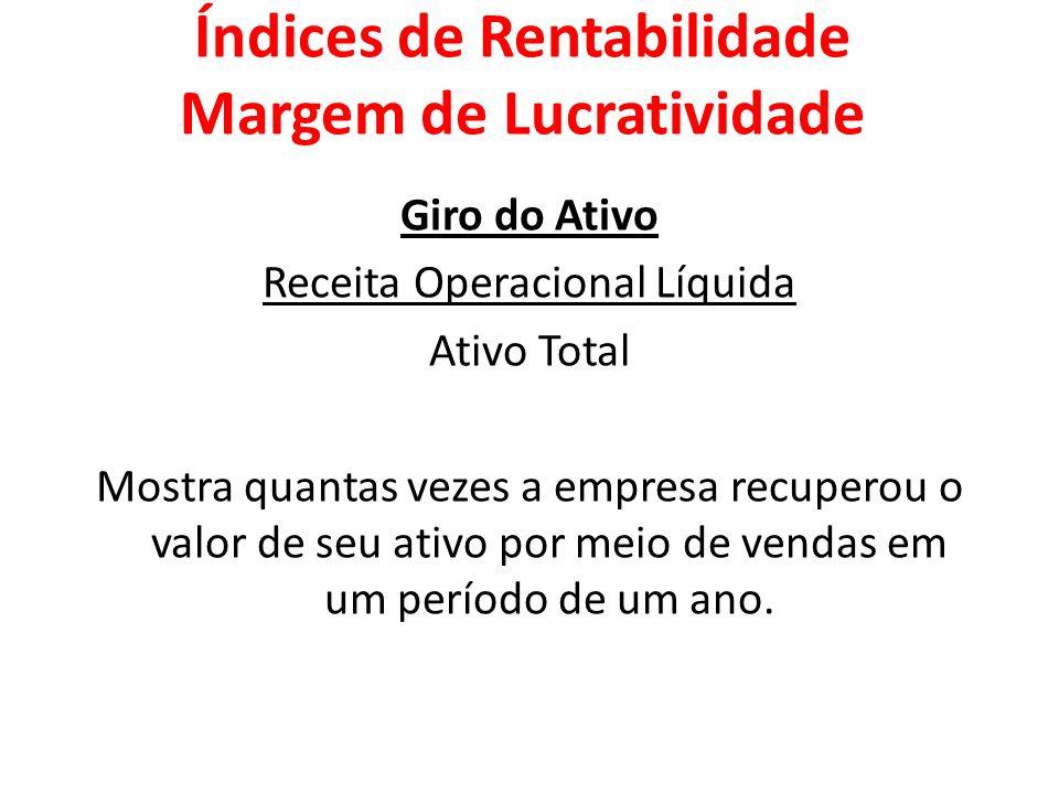 Giro do Ativo Receita Operacional Líquida Ativo Total Mostra quantas vezes a empresa recuperou o valor de seu ativo por meio de vendas em um período d