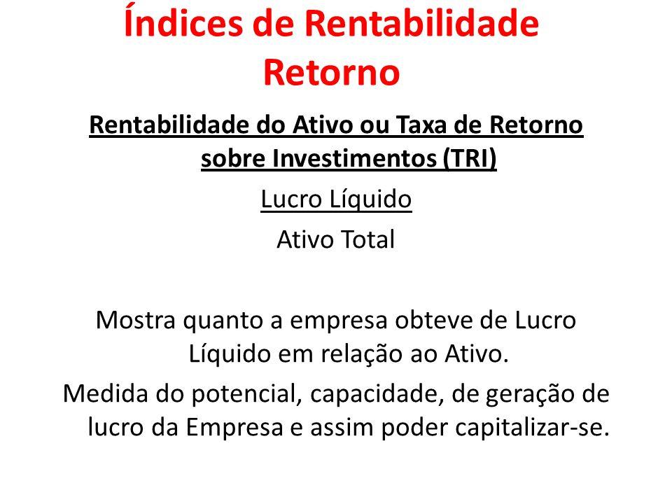 Rentabilidade do Ativo ou Taxa de Retorno sobre Investimentos (TRI) Lucro Líquido Ativo Total Mostra quanto a empresa obteve de Lucro Líquido em relaç