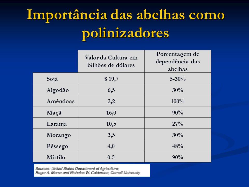 Importância das abelhas como polinizadores Valor da Cultura em bilhões de dólares Porcentagem de dependência das abelhas Soja $ 19,75-30% Algodão 6,53