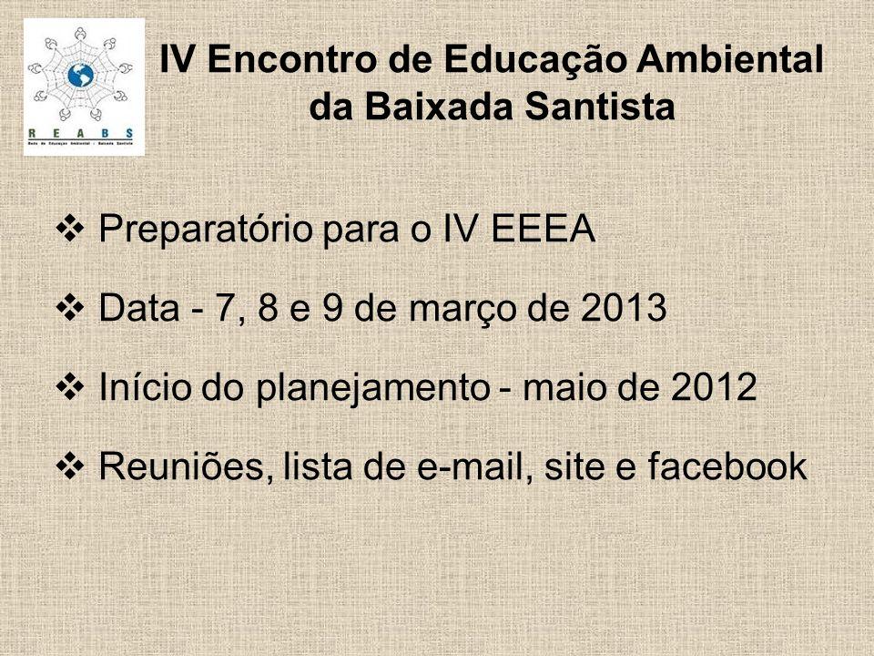 Preparatório para o IV EEEA Data - 7, 8 e 9 de março de 2013 Início do planejamento - maio de 2012 Reuniões, lista de e-mail, site e facebook IV Encontro de Educação Ambiental da Baixada Santista