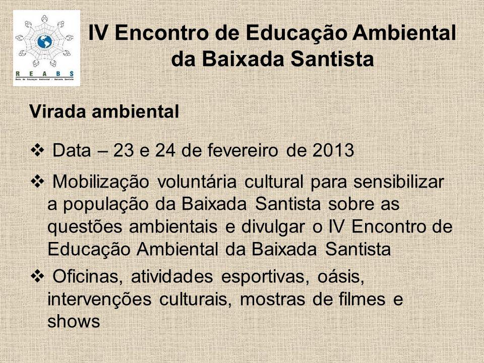 Virada ambiental Data – 23 e 24 de fevereiro de 2013 Mobilização voluntária cultural para sensibilizar a população da Baixada Santista sobre as questõ