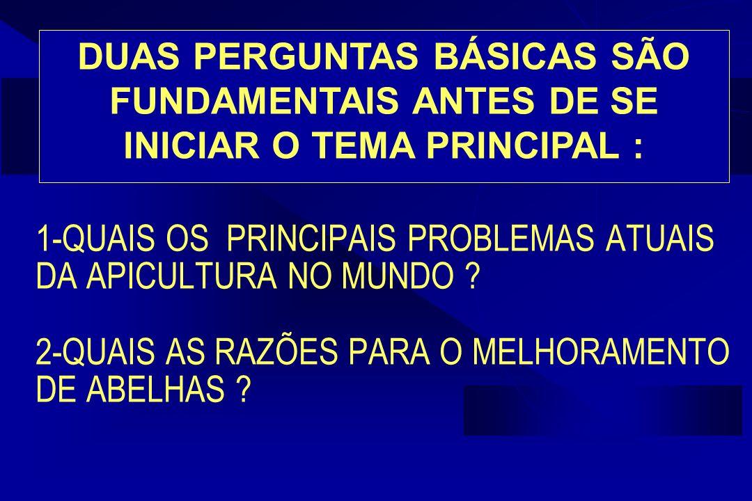 1-QUAIS OS PRINCIPAIS PROBLEMAS ATUAIS DA APICULTURA NO MUNDO .