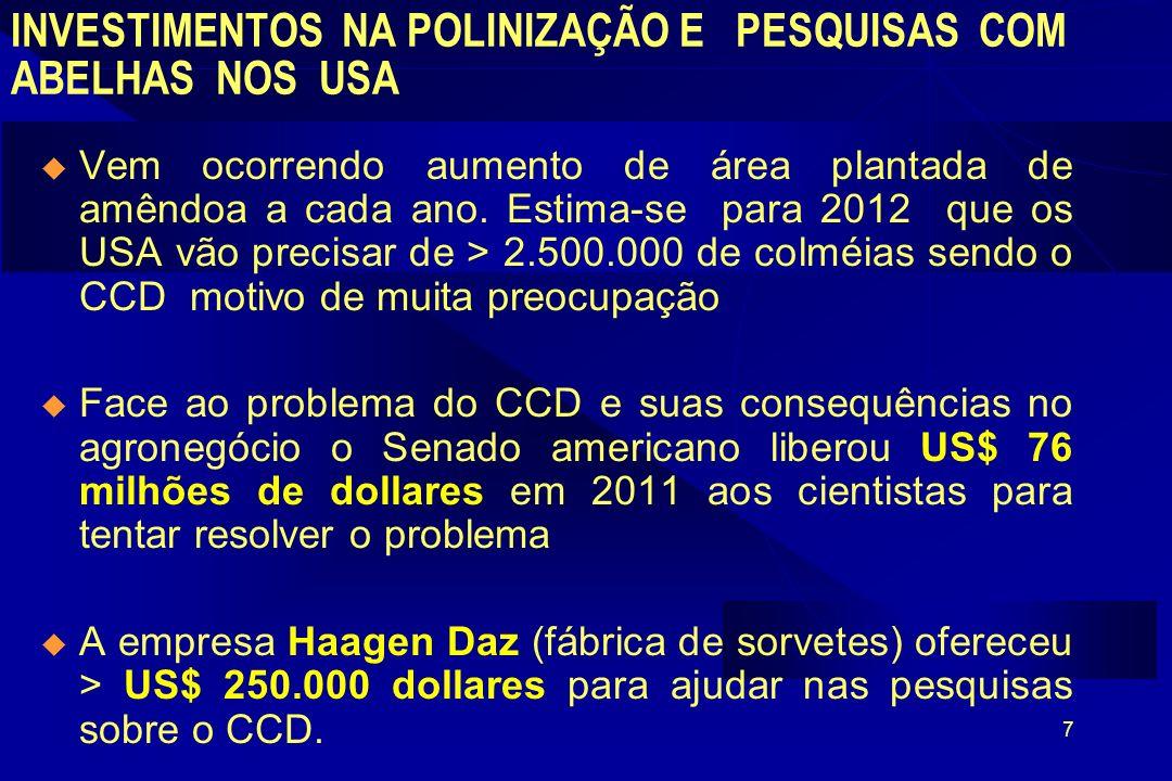 7 INVESTIMENTOS NA POLINIZAÇÃO E PESQUISAS COM ABELHAS NOS USA Vem ocorrendo aumento de área plantada de amêndoa a cada ano.