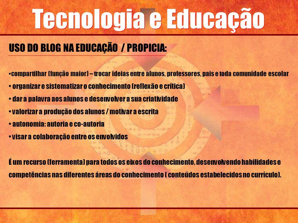 Tecnologia e Educação USO DO BLOG NA EDUCAÇÃO / PROPICIA: compartilhar (função maior) – trocar ideias entre alunos, professores, pais e toda comunidad