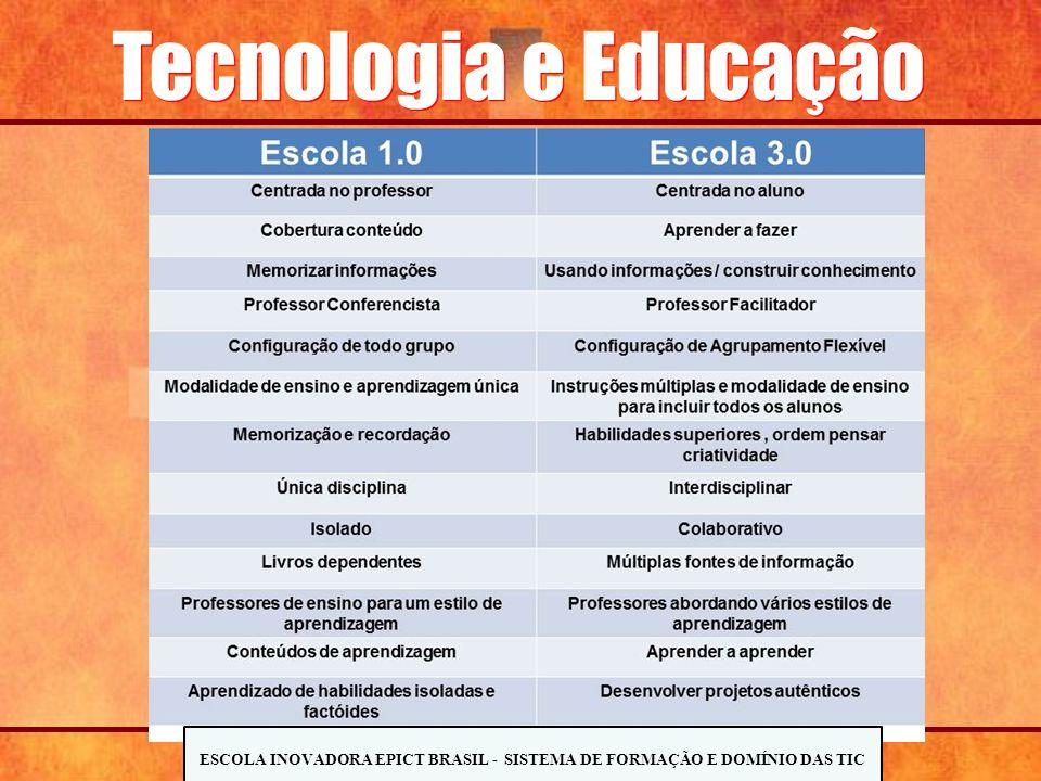 Tecnologia e Educação ESCOLA INOVADORA EPICT BRASIL - SISTEMA DE FORMAÇÃO E DOMÍNIO DAS TIC