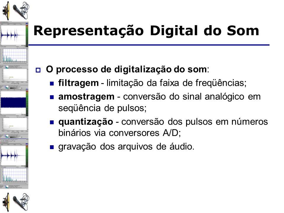 O processo de digitalização do som: filtragem - limitação da faixa de freqüências; amostragem - conversão do sinal analógico em seqüência de pulsos; q