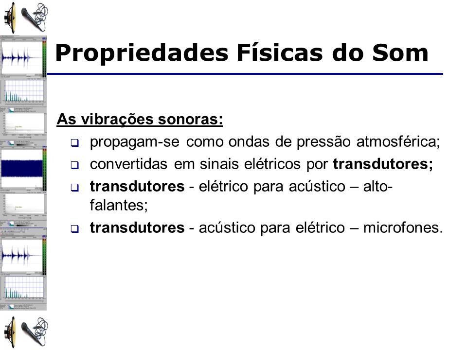 As vibrações sonoras: propagam-se como ondas de pressão atmosférica; convertidas em sinais elétricos por transdutores; transdutores - elétrico para ac