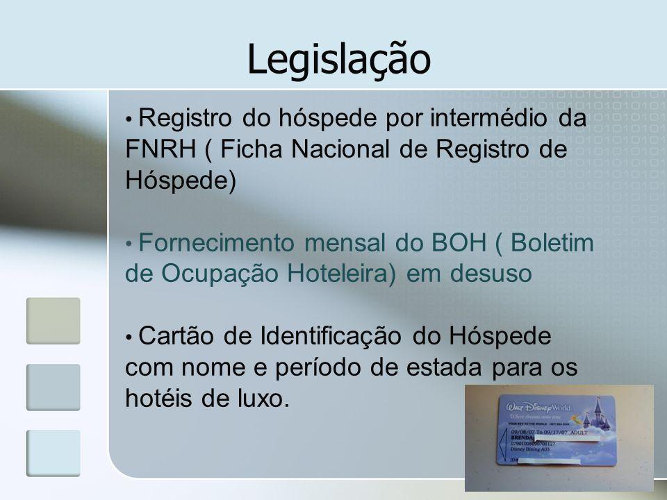 Legislação Registro do hóspede por intermédio da FNRH ( Ficha Nacional de Registro de Hóspede) Fornecimento mensal do BOH ( Boletim de Ocupação Hotele