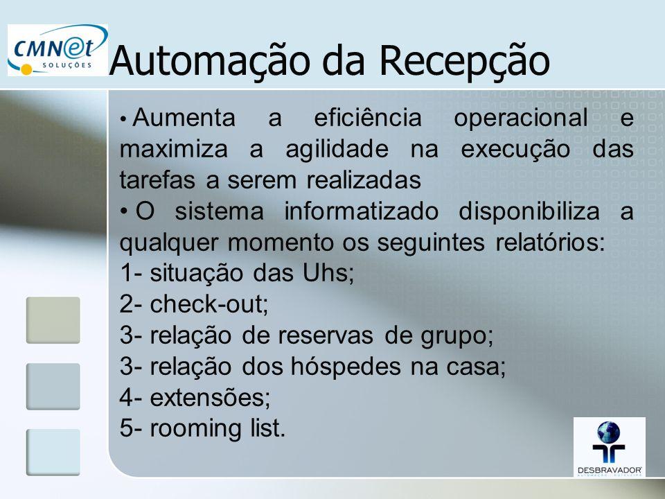 Automação da Recepção Aumenta a eficiência operacional e maximiza a agilidade na execução das tarefas a serem realizadas O sistema informatizado dispo