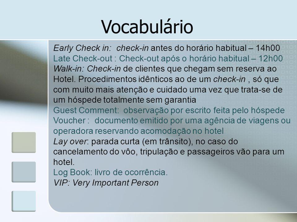 Vocabulário Early Check in: check-in antes do horário habitual – 14h00 Late Check-out : Check-out após o horário habitual – 12h00 Walk-in: Check-in de