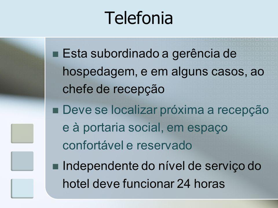 Telefonia Esta subordinado a gerência de hospedagem, e em alguns casos, ao chefe de recepção Deve se localizar próxima a recepção e à portaria social,