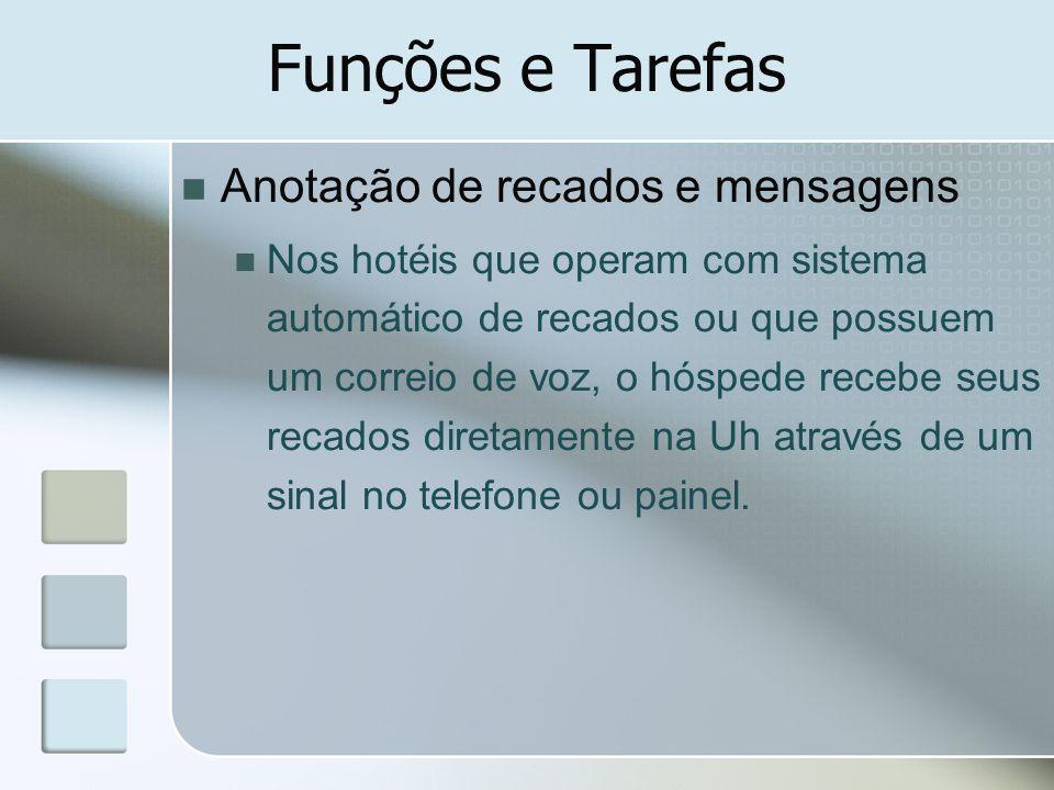 Funções e Tarefas Anotação de recados e mensagens Nos hotéis que operam com sistema automático de recados ou que possuem um correio de voz, o hóspede