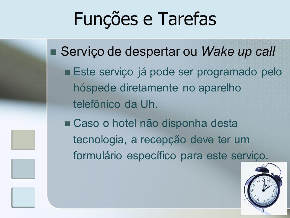 Funções e Tarefas Serviço de despertar ou Wake up call Este serviço já pode ser programado pelo hóspede diretamente no aparelho telefônico da Uh. Caso