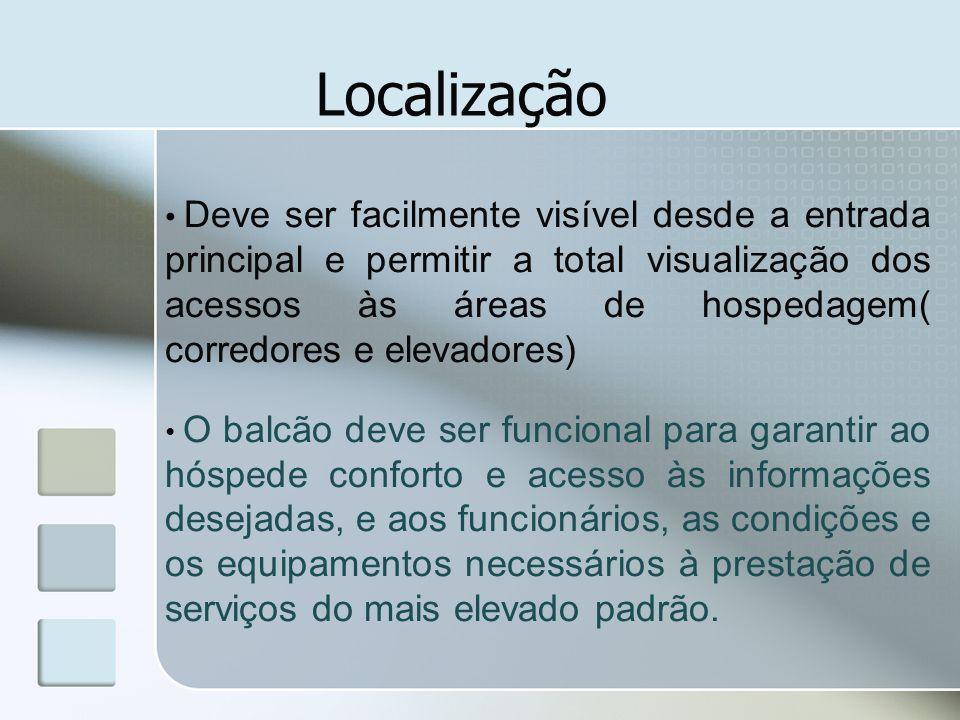 Localização Deve ser facilmente visível desde a entrada principal e permitir a total visualização dos acessos às áreas de hospedagem( corredores e ele