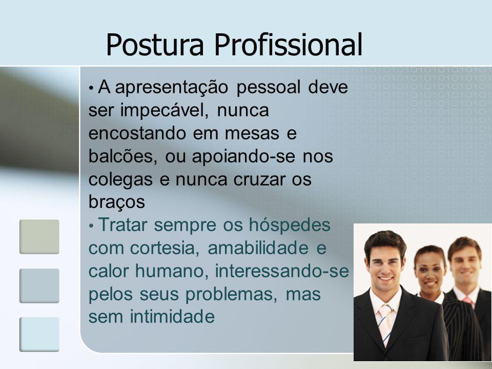 Postura Profissional Deve ter uma aparência saudável, boa educação, clara pronúncia e falar no mínimo 01 idioma estrangeiro.