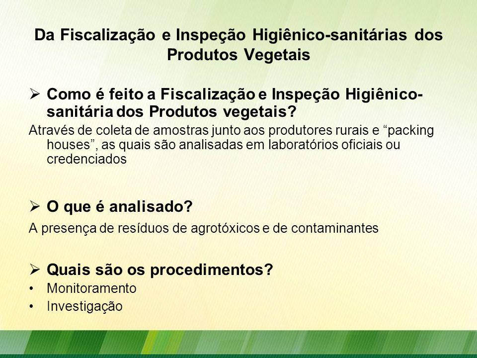 Da Fiscalização e Inspeção Higiênico-sanitárias dos Produtos Vegetais Como é feito a Fiscalização e Inspeção Higiênico- sanitária dos Produtos vegetai