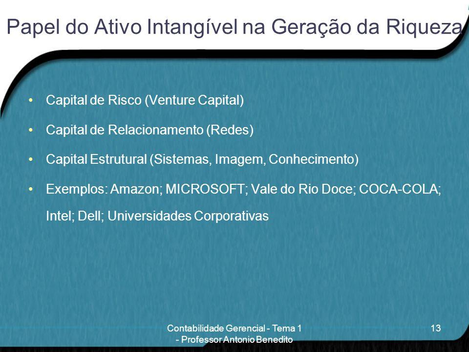 Papel do Ativo Intangível na Geração da Riqueza Capital de Risco (Venture Capital) Capital de Relacionamento (Redes) Capital Estrutural (Sistemas, Ima