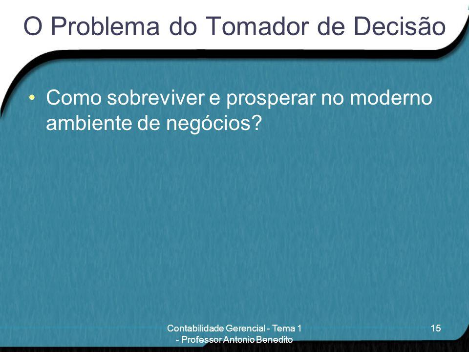 O Problema do Tomador de Decisão Como sobreviver e prosperar no moderno ambiente de negócios? 15Contabilidade Gerencial - Tema 1 - Professor Antonio B