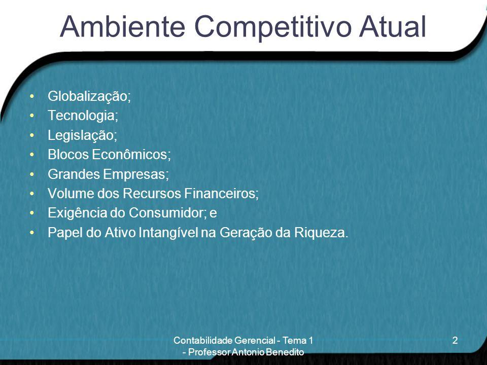 Ambiente Competitivo Atual Globalização; Tecnologia; Legislação; Blocos Econômicos; Grandes Empresas; Volume dos Recursos Financeiros; Exigência do Co