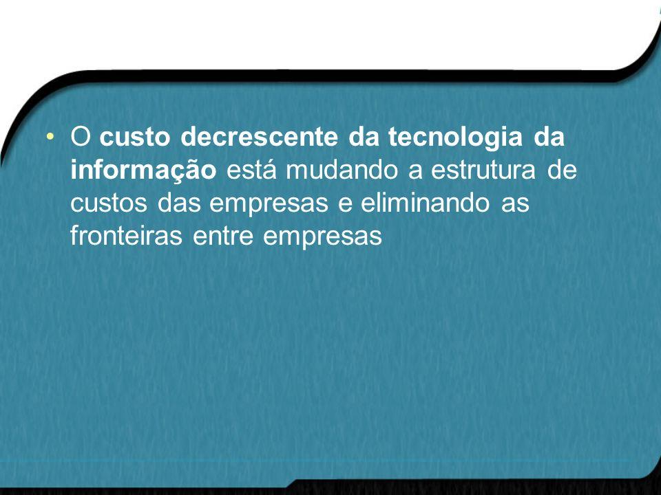 O custo decrescente da tecnologia da informação está mudando a estrutura de custos das empresas e eliminando as fronteiras entre empresas