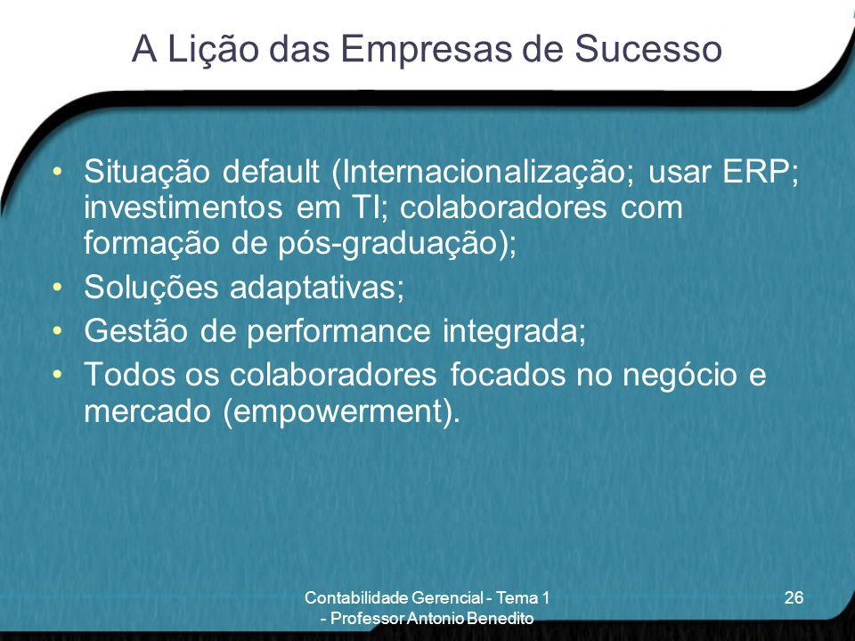 A Lição das Empresas de Sucesso Situação default (Internacionalização; usar ERP; investimentos em TI; colaboradores com formação de pós-graduação); So