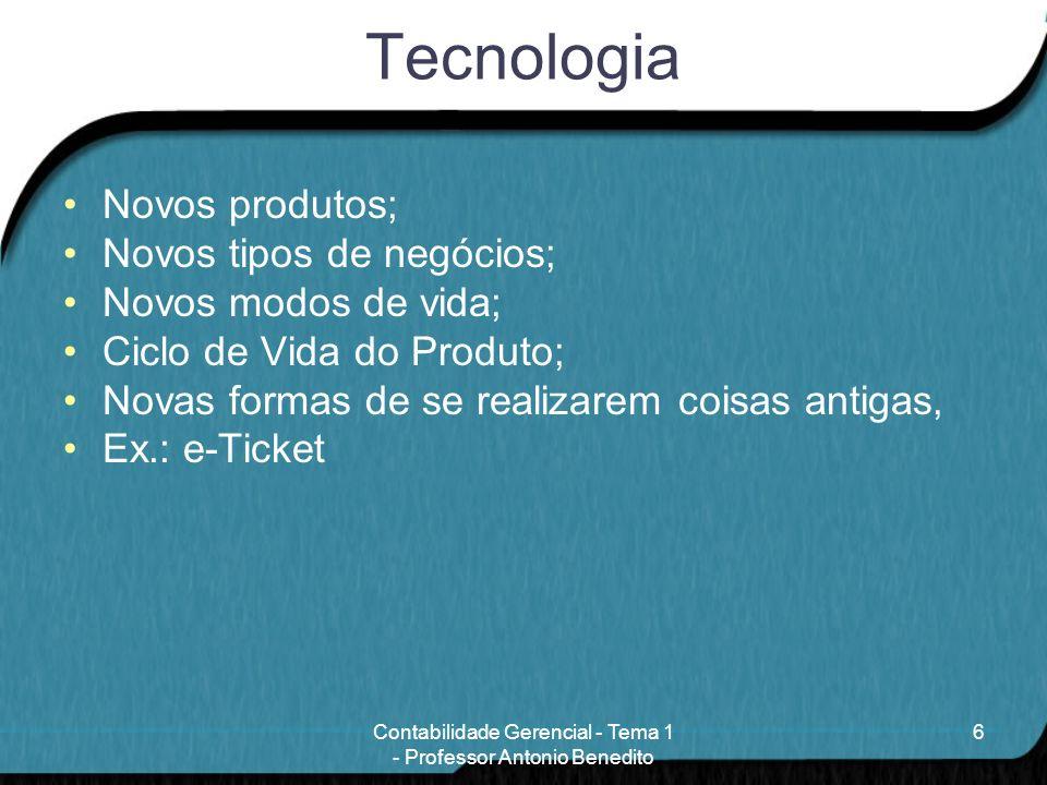 Tecnologia Novos produtos; Novos tipos de negócios; Novos modos de vida; Ciclo de Vida do Produto; Novas formas de se realizarem coisas antigas, Ex.: