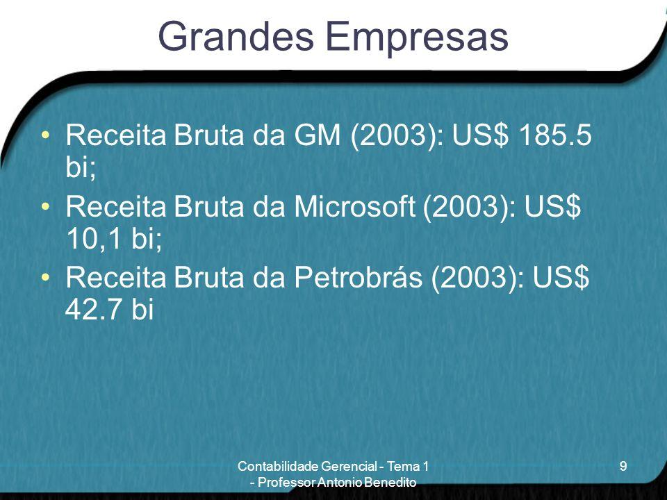 Grandes Empresas Receita Bruta da GM (2003): US$ 185.5 bi; Receita Bruta da Microsoft (2003): US$ 10,1 bi; Receita Bruta da Petrobrás (2003): US$ 42.7