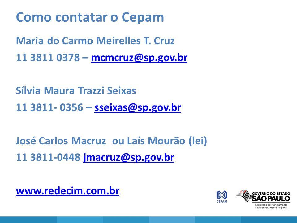 Como contatar o Cepam Maria do Carmo Meirelles T. Cruz 11 3811 0378 – mcmcruz@sp.gov.brmcmcruz@sp.gov.br Sílvia Maura Trazzi Seixas 11 3811- 0356 – ss