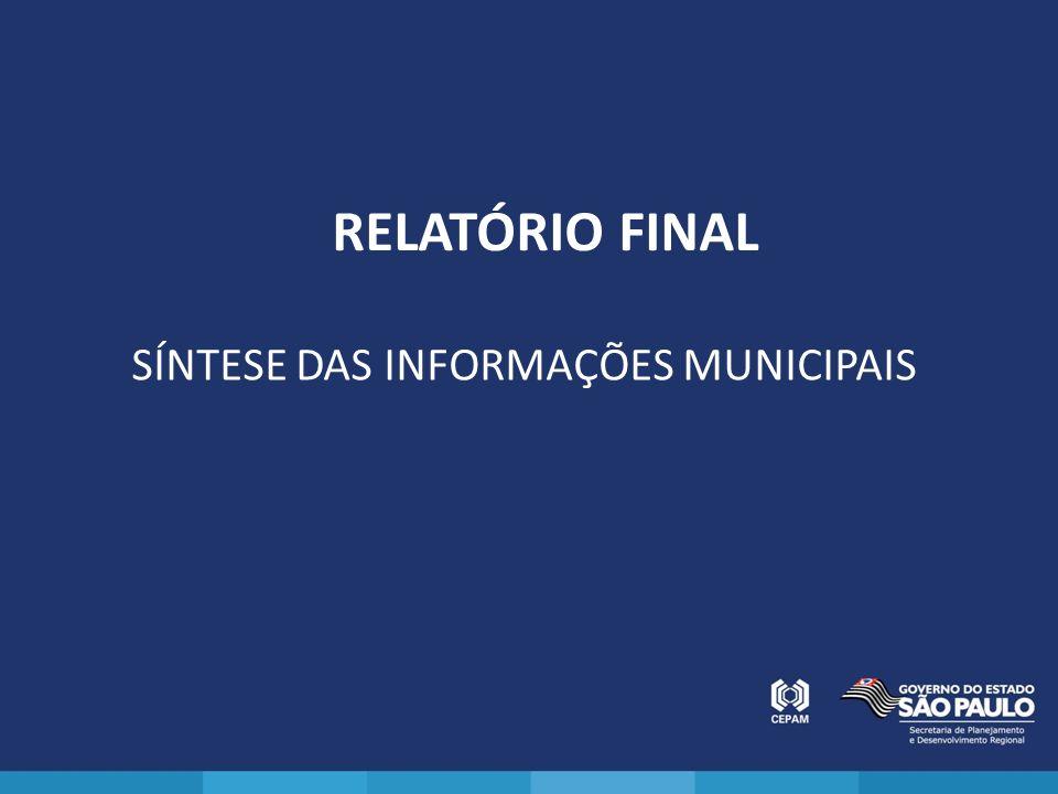 RELATÓRIO FINAL SÍNTESE DAS INFORMAÇÕES MUNICIPAIS