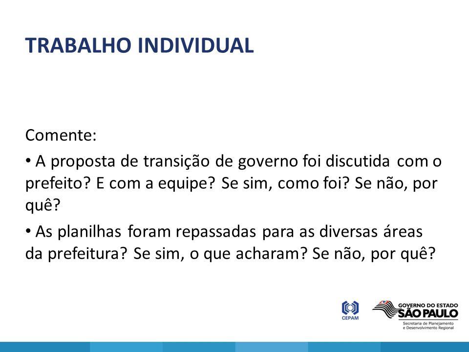 TRABALHO INDIVIDUAL Comente: A proposta de transição de governo foi discutida com o prefeito? E com a equipe? Se sim, como foi? Se não, por quê? As pl