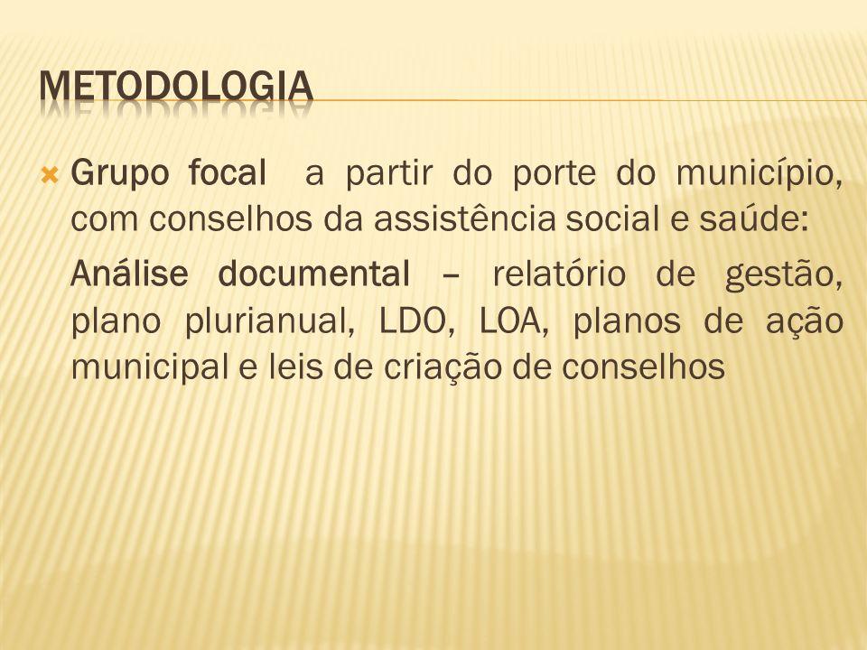 Grupo focal a partir do porte do município, com conselhos da assistência social e saúde: Análise documental – relatório de gestão, plano plurianual, L
