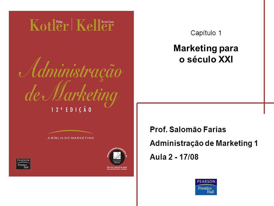 Capítulo 1 Marketing para o século XXI Prof. Salomão Farias Administração de Marketing 1 Aula 2 - 17/08