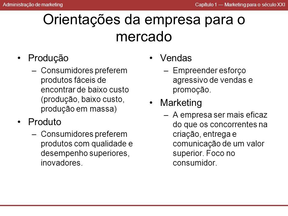 Administração de marketingCapítulo 1 Marketing para o século XXI Orientações da empresa para o mercado Produção –Consumidores preferem produtos fáceis