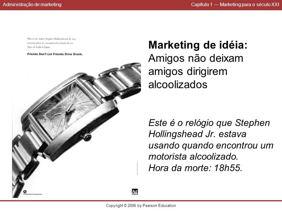 Administração de marketingCapítulo 1 Marketing para o século XXI Copyright © 2006 by Pearson Education Marketing de idéia: Amigos não deixam amigos di