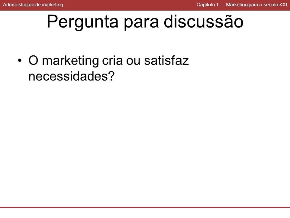 Administração de marketingCapítulo 1 Marketing para o século XXI Pergunta para discussão O marketing cria ou satisfaz necessidades?