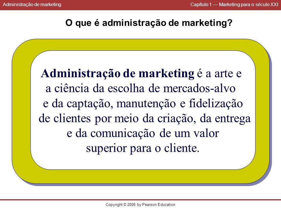 Administração de marketingCapítulo 1 Marketing para o século XXI Copyright © 2006 by Pearson Education O que é administração de marketing? Administraç