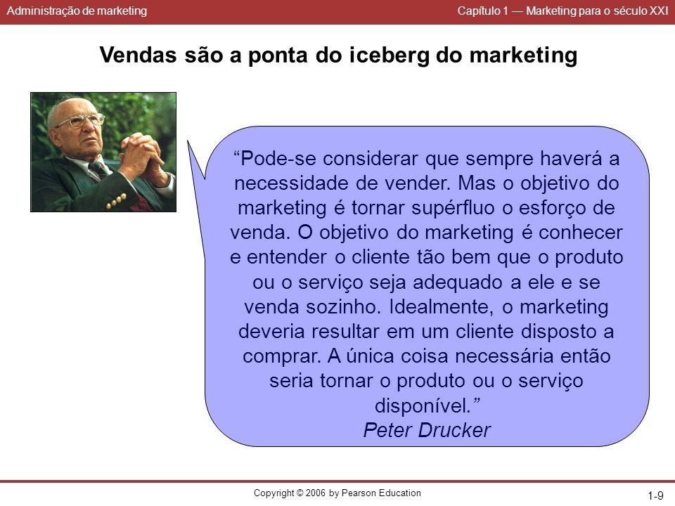 Administração de marketingCapítulo 1 Marketing para o século XXI Copyright © 2006 by Pearson Education 1-9 Vendas são a ponta do iceberg do marketing