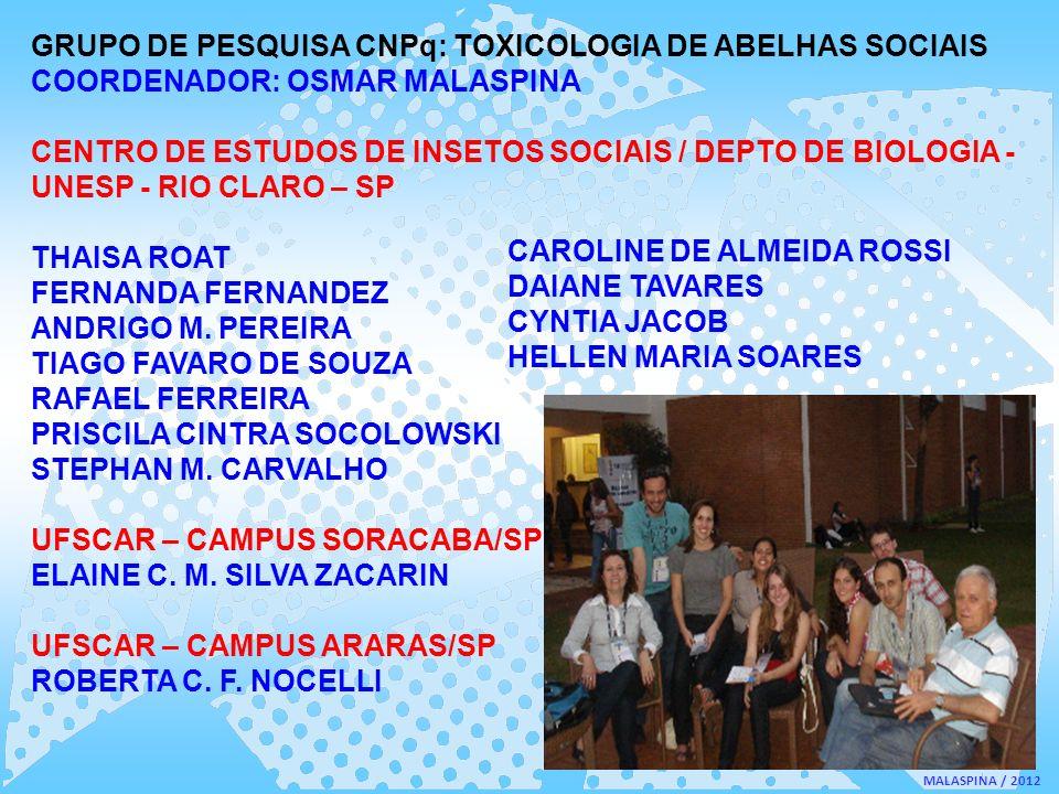 MALASPINA / 2012 GRUPO DE PESQUISA CNPq: TOXICOLOGIA DE ABELHAS SOCIAIS COORDENADOR: OSMAR MALASPINA CENTRO DE ESTUDOS DE INSETOS SOCIAIS / DEPTO DE B