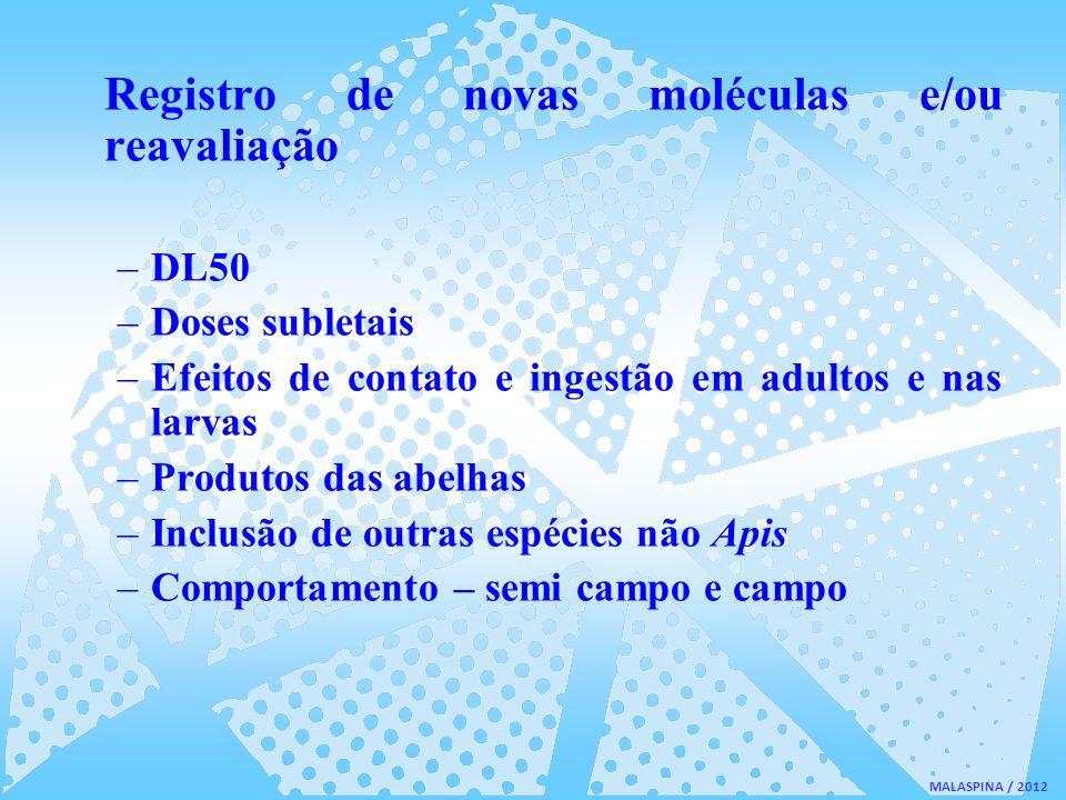 MALASPINA / 2012 Registro de novas moléculas e/ou reavaliação –DL50 –Doses subletais –Efeitos de contato e ingestão em adultos e nas larvas –Produtos
