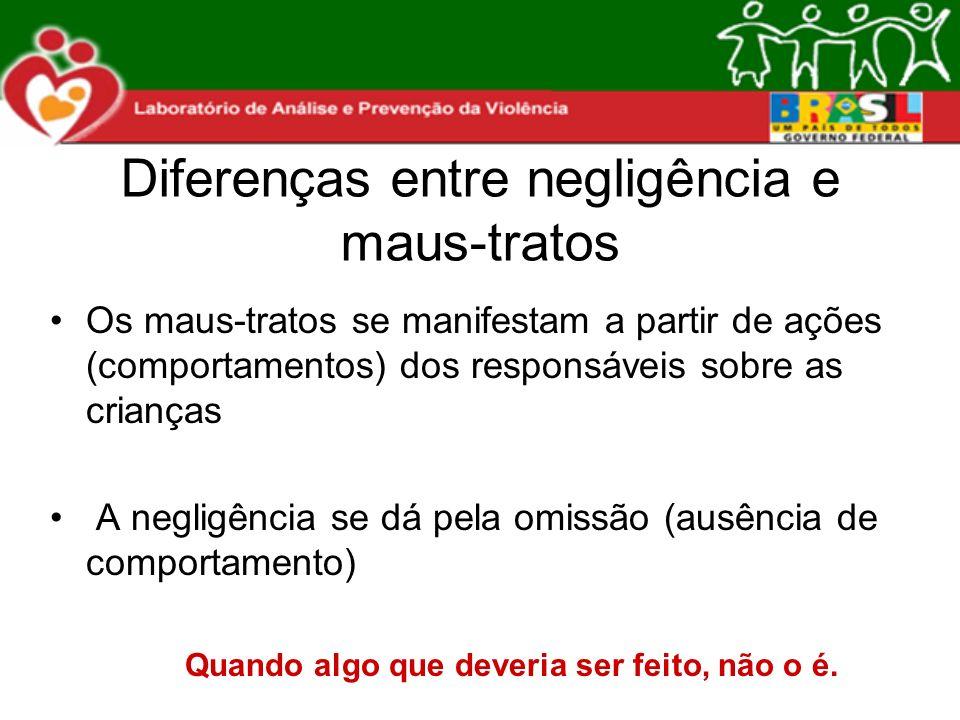 Diferenças entre negligência e maus-tratos Os maus-tratos se manifestam a partir de ações (comportamentos) dos responsáveis sobre as crianças A neglig