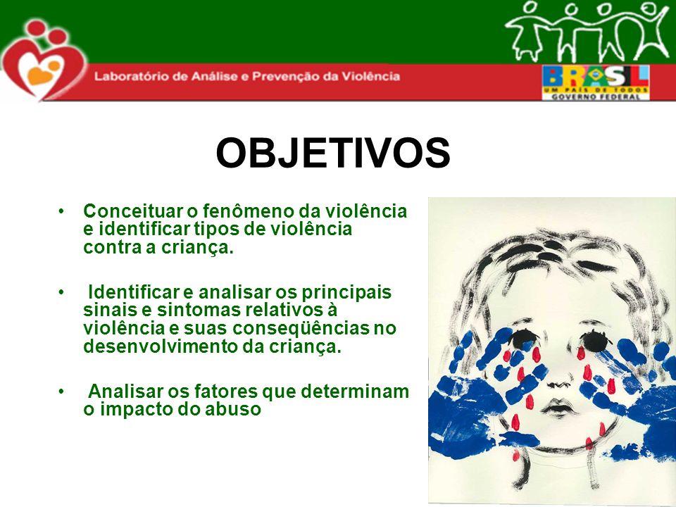 OBJETIVOS Conceituar o fenômeno da violência e identificar tipos de violência contra a criança. Identificar e analisar os principais sinais e sintomas
