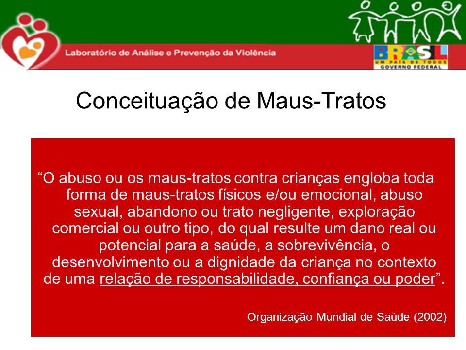 Prevalência de Maus-Tratos Dados de estudos nacionais e internacionais (3 a 8%) - de 3 a 8 crianças em 100 Dados parciais de São Carlos (cartilha aplicada junto a 150 educadores em 2008): 7% - 7 crianças em 100 Dados de abuso sexual: os casos denunciados dobraram em 5 anos (2002-2006) - passou de 30 para 60 casos.