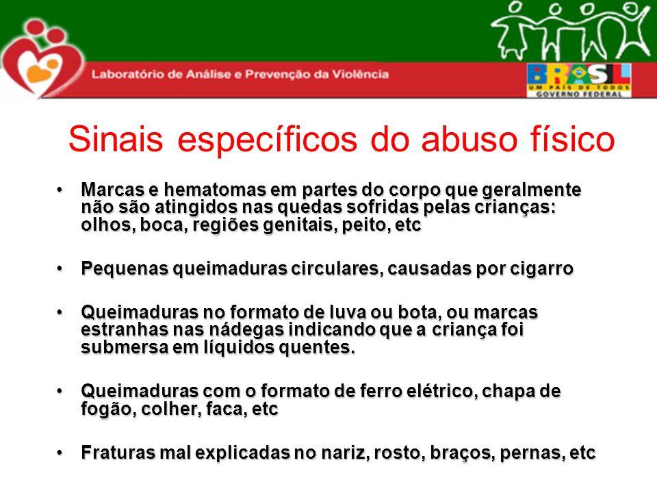 Sinais específicos do abuso físico Marcas e hematomas em partes do corpo que geralmente não são atingidos nas quedas sofridas pelas crianças: olhos, b