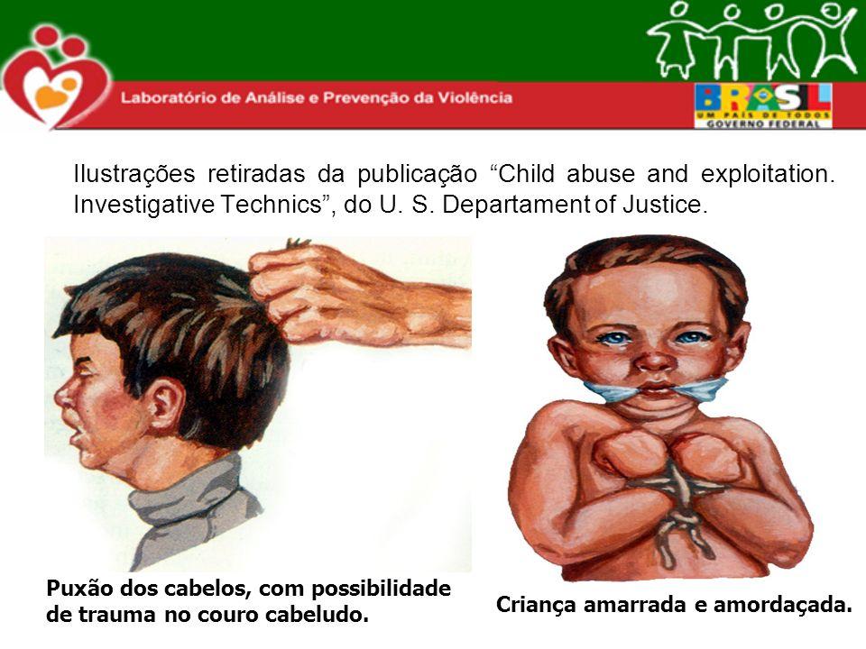 Ilustrações retiradas da publicação Child abuse and exploitation. Investigative Technics, do U. S. Departament of Justice. Puxão dos cabelos, com poss