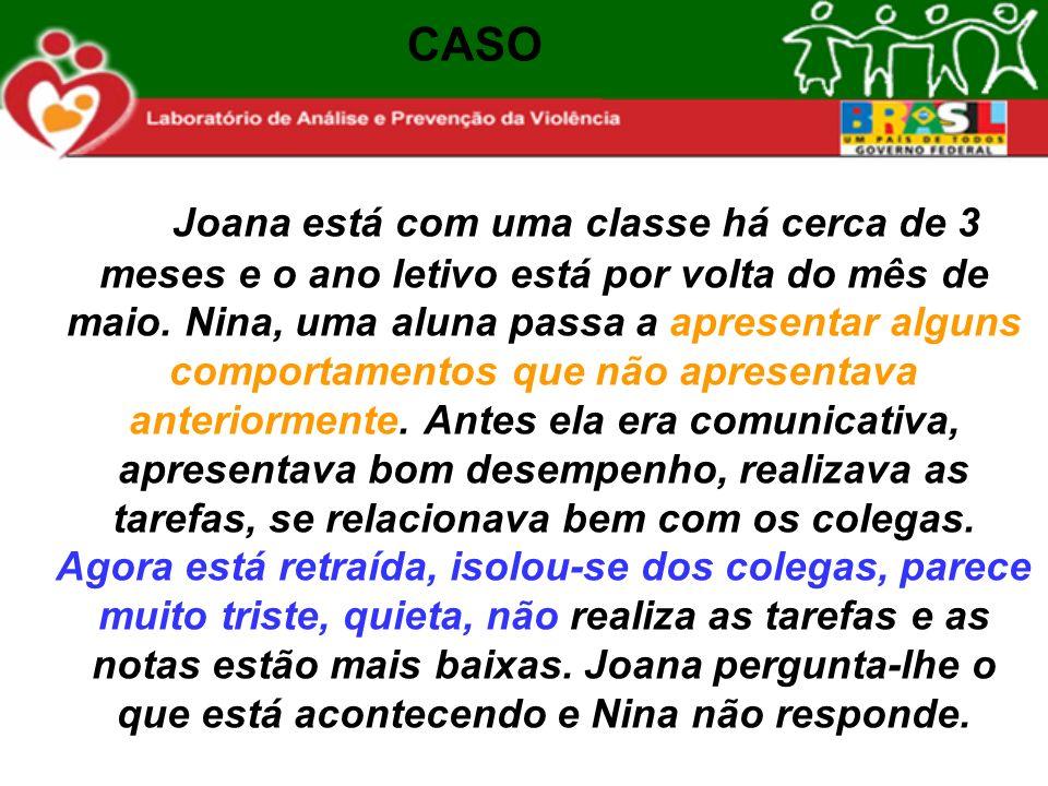 Joana está com uma classe há cerca de 3 meses e o ano letivo está por volta do mês de maio. Nina, uma aluna passa a apresentar alguns comportamentos q