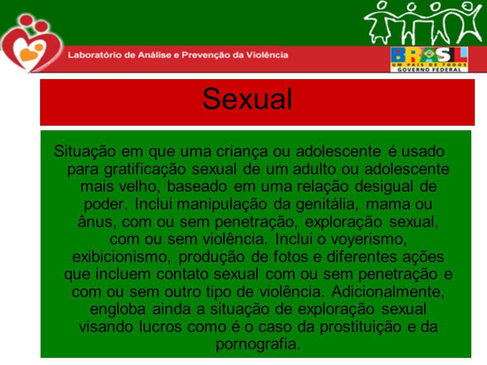 Sexual Situação em que uma criança ou adolescente é usado para gratificação sexual de um adulto ou adolescente mais velho, baseado em uma relação desi