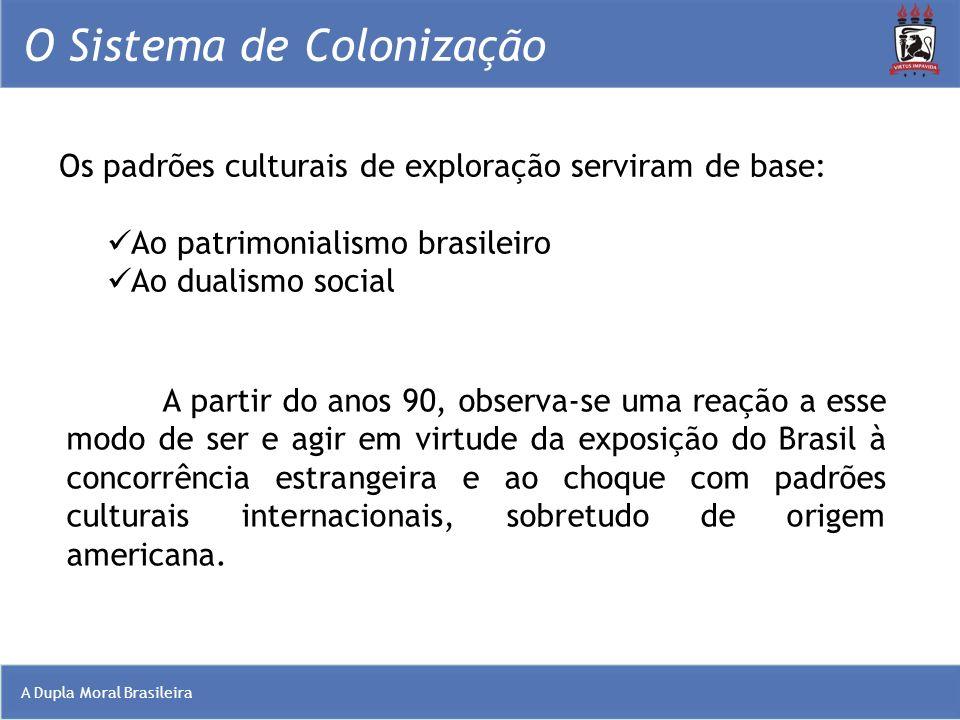 A Dupla Moral Brasileira O Sistema de Colonização Os padrões culturais de exploração serviram de base: Ao patrimonialismo brasileiro Ao dualismo socia