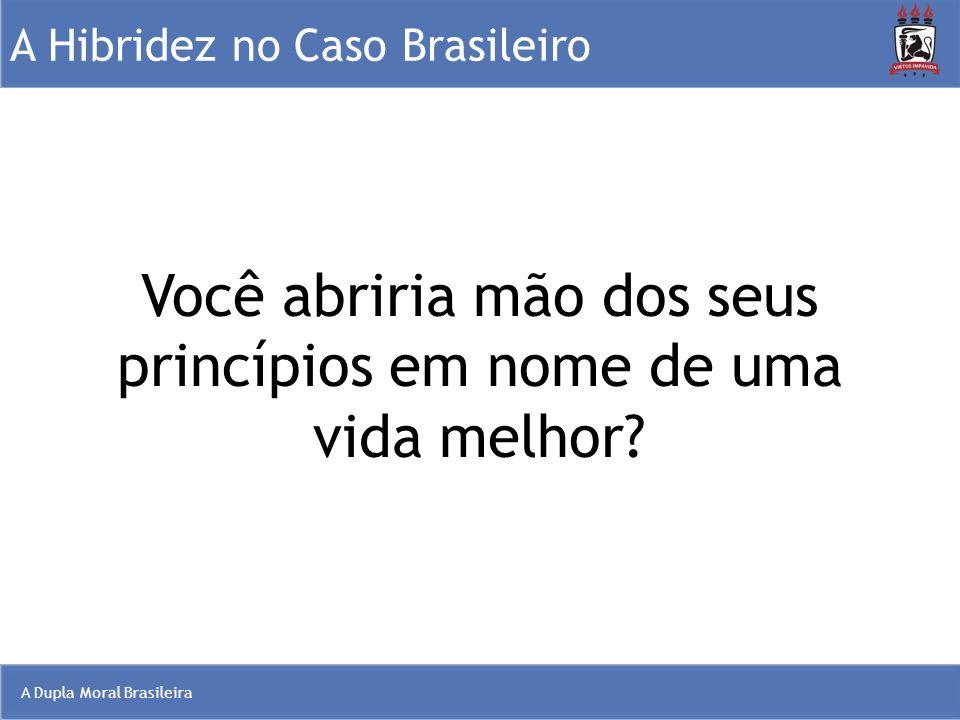 A Dupla Moral Brasileira A Hibridez no Caso Brasileiro Credibilidade dos agentes econômicos Insistir em agir segundo a moral do oportunismo Efetiva adesão ao profissionalismo e à idoneidade
