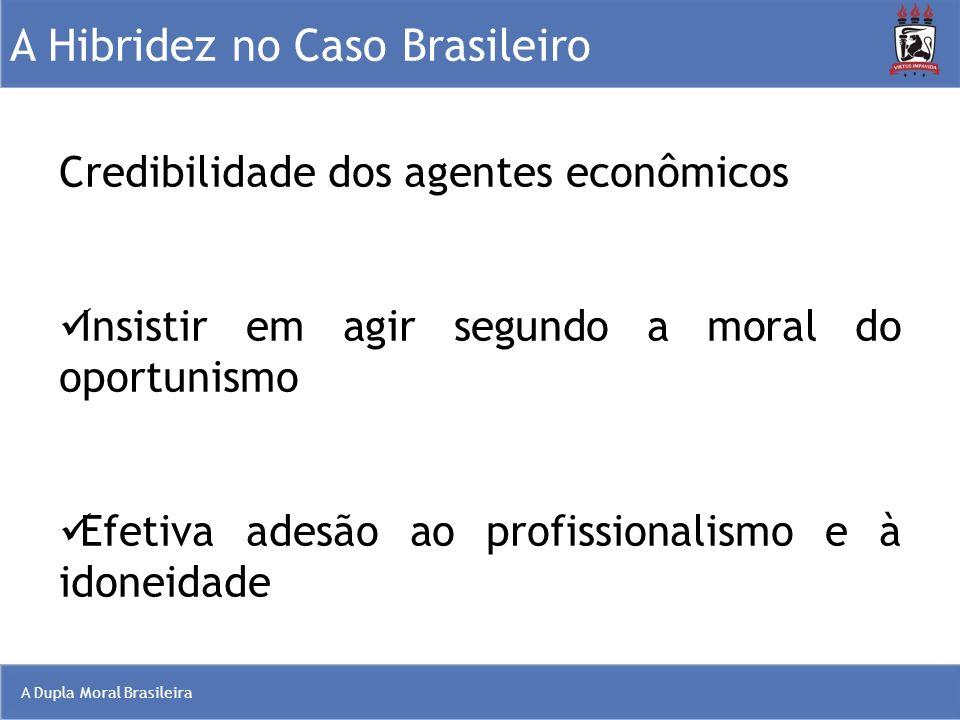 A Dupla Moral Brasileira A Hibridez no Caso Brasileiro Credibilidade dos agentes econômicos Insistir em agir segundo a moral do oportunismo Efetiva ad